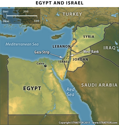 Map of Egypt & Israel